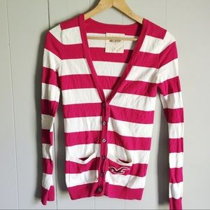 Hollister • Striped V Cardigan Pink & Ivory Small